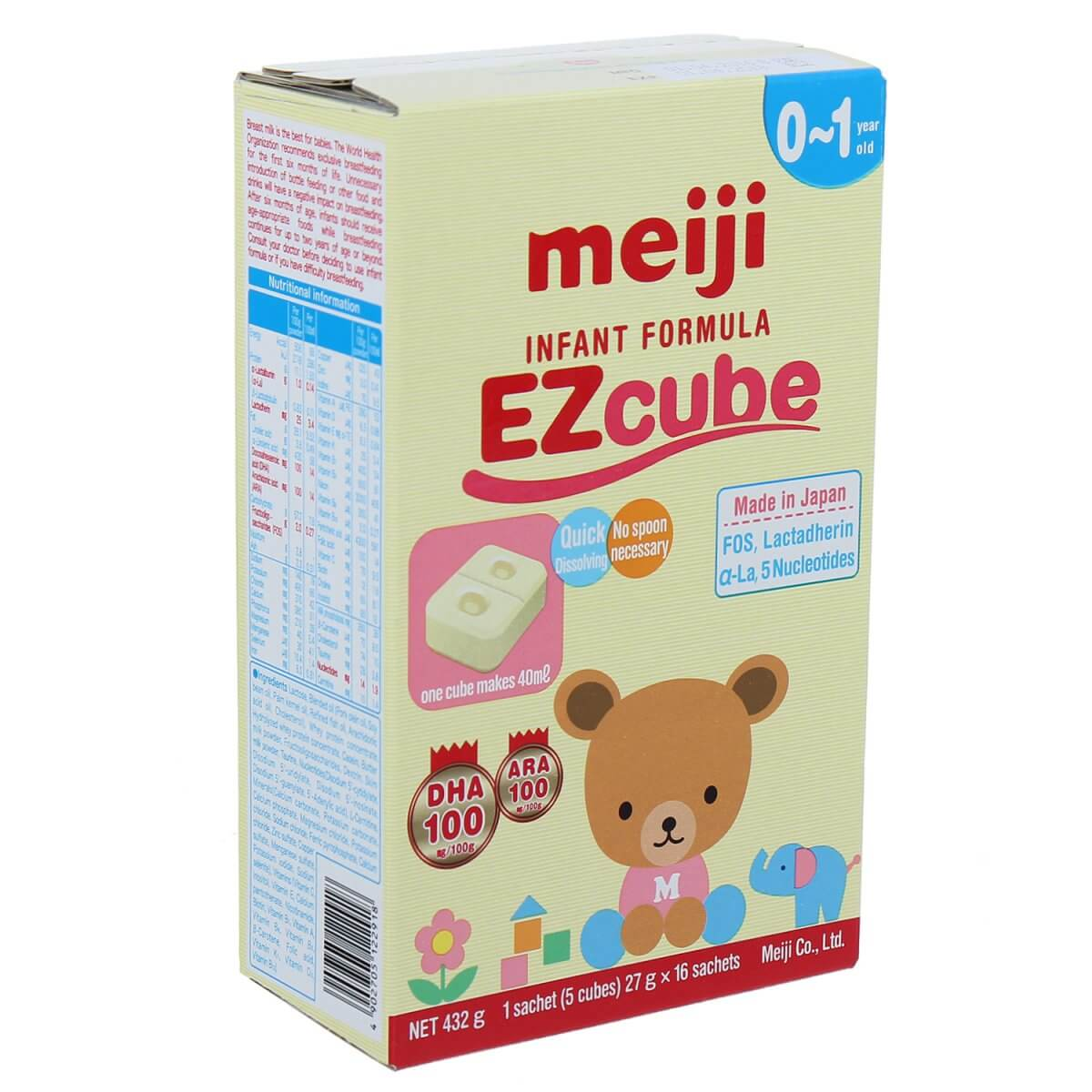 Thông tin đầy đủ về sữa Meiji thanh Ezcube 0-1 cho bé